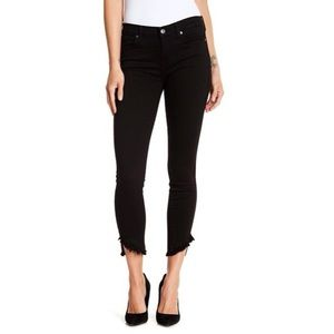 7 For All Mankind Frayed Angled Hem Skinny Jeans